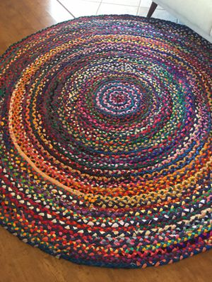 6ft round area rug brand new ( braided cotton strips ) multi color / bohemian round accent rug for Sale in Glendale, AZ