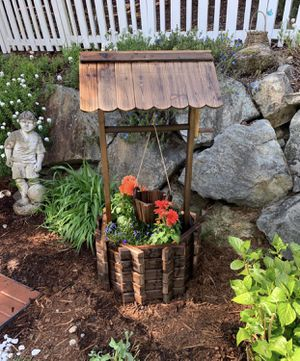 NEW Wishing Well Wooden Planter with Hanging Flower Bucket Patio Deck Outdoor Lighting Garden Decor for Sale in Monterey, CA