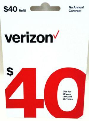 Verizon Prepaid Airtime Card $40 Value for Sale in Las Vegas, NV