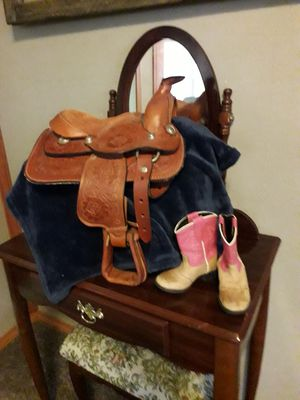Miniature saddle and boots for Sale in Salem, MO