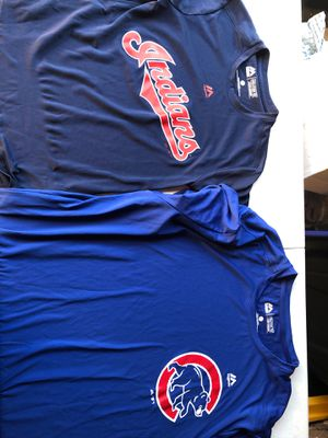 MLB jersey tops (2) Majestic Cubs and Indians y+A for Sale in Sudley Springs, VA