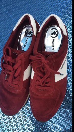 Women's Michael Kors Sneakers Size 9 Fits 91/2. Color Red White & Gold for Sale in South Gate, CA