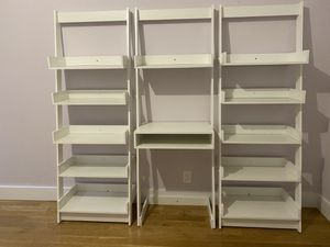 Home floating ladder shelves with office desk - white for Sale in New York, NY