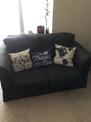Navy 2 Seater Couch with Pillows for Sale in Atlanta, GA