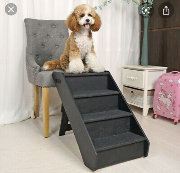 Dog pet stairs 4 steps folding climb for couch bed block