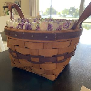 Longaberger Basket with Liner and Protector for Sale in Boca Raton, FL