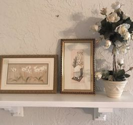Two Gold Framed Wall Art And Faux Topiary for Sale in San Diego,  CA