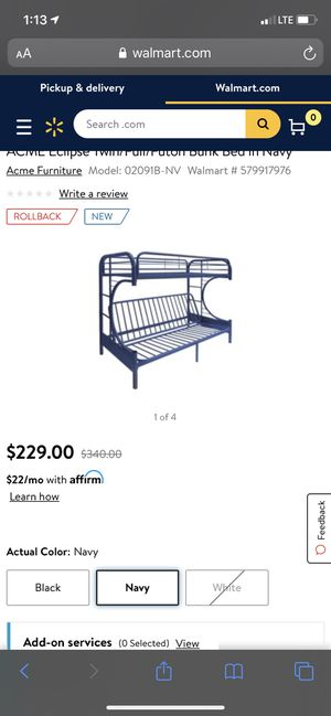 """Twin/full """"c"""" futon bunk bed for Sale in Oregon City, OR"""