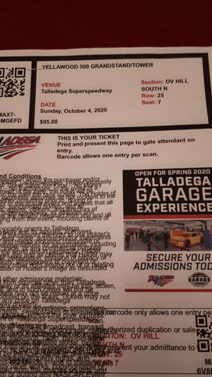 Talladega NASCAR Tickets (2) for Sale in Red Bank, TN