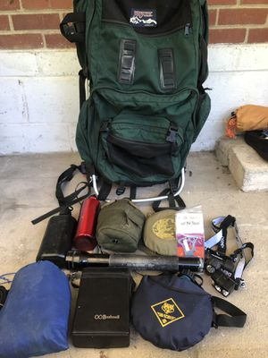 Camping gear hiking frame backpack adult headlamps hammock messkit and more for Sale in Forest Park, GA