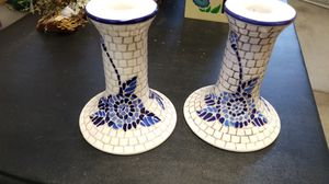 PRICE REDUCED Candle Holders, blue-white mosaic. PRICE REDUCED for Sale in Los Altos, CA