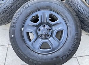 Set of 5 Jeep Wrangler Wheels Steel Michelin Tires 245/75/17 for Sale in Rancho Cordova, CA