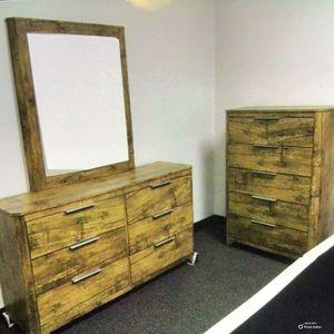 New!! 2Pc Bedroom Set,Furniture,Dressers,Bedroom,Tall Chest,Dresser W/Mirror for Sale in Phoenix, AZ