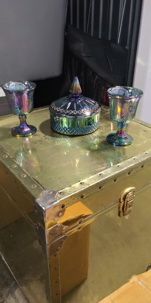Carnival Glass Candy Dish & 2 Goblets for Sale in St. Louis, MO