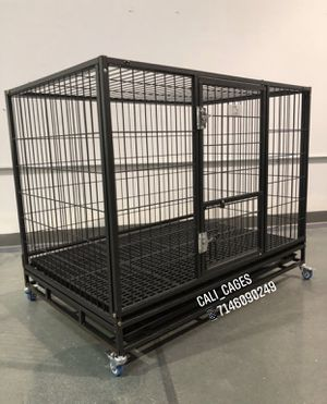 Dog pet cage kennel size 43 large folding with plastic floor tray and wheels new in box for Sale in Corona, CA