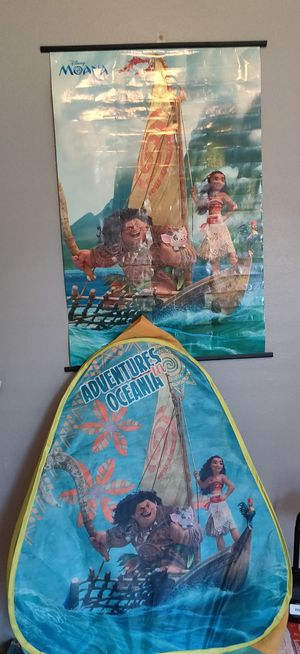 Disney Moana girl room decoration poster and tent for Sale in Orlando, FL