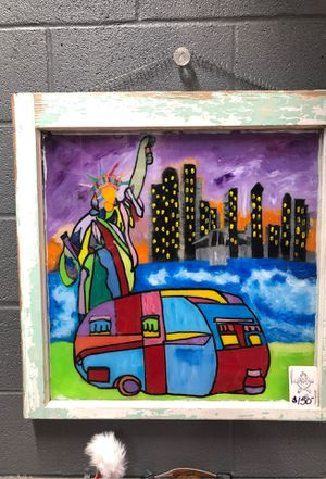Hand Painted picture on antique window frame glass for Sale in Jarrell, TX