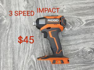 ridgid 3 speed impact drill driver only $45 for Sale in Littlerock, CA