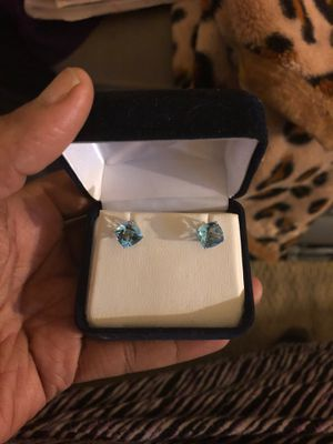 14K White Gold Blue Topaz Checkerboard Cushion Studs for Sale in Antioch, CA