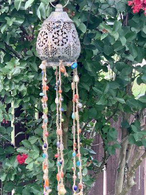 Filigree Votive Candle Holder Lantern with Glass Beads & Bells Wind Chime Mobile for Sale in Nashville, TN