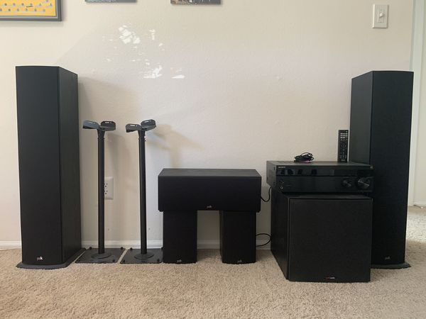 Polk T Series System with Sony 5.1 receiver and speaker stands