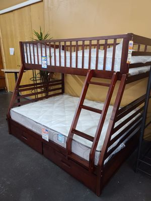 Solid wood twin over full bunk bed with mattresses and storage for Sale in Sacramento, CA