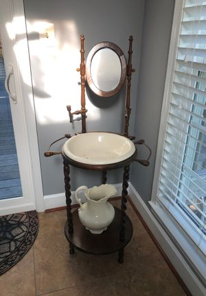 Antique Victorian Wash Sink Basin with Pitcher for Sale in Gaithersburg, MD