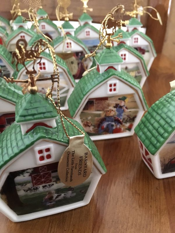 John Deere Farmhouse Christmas Ornaments and Large Size Blanket Material Lot $15