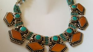 Sterling silver,Turquoise and amber necklace one of a kind for Sale in Boca Raton, FL