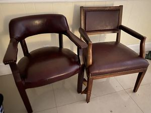 Office Furniture - Leather and Wood Office Chairs - Set of 3 for Sale in North Palm Beach, FL