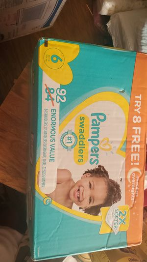 Pampers swaddlers size 6 has 92 diapers $35 or trade for 3 enfamil cans no less thank you for Sale in Perris, CA