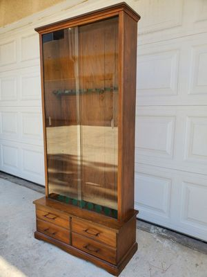 Vintage (8) Rifle Cabinet with Drawer & Sliding Glass Doors for Sale in Grand Terrace, CA