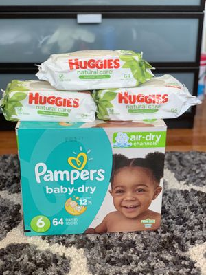 Pampers baby dry size 6(62) diapers and 192 Huggies wipes for $30 for Sale in Gardena, CA