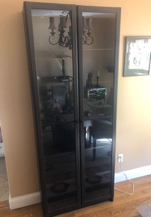 Ikea curio with glass doors for Sale in La Mesa, CA