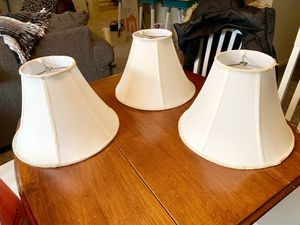 3 White Fabric Lamp Shades for Sale in Issaquah, WA