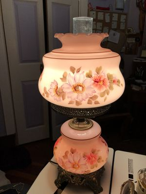 Pink antique hurricane lamp BIG shabby chic french for Sale in Seattle, WA