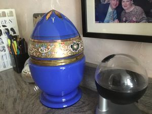 Beautiful Cobalt Blue antique egg with decanter and some glasses for Sale in Millsboro, DE