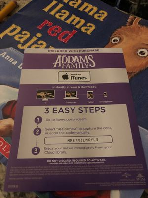 Code for Addams family iTunes for Sale in Fort Worth, TX