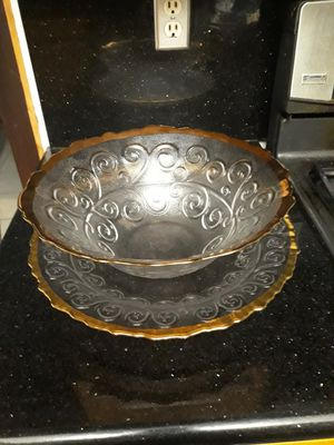 Italian Glass Bowl & Platter MADE IN ITALY for Sale in City of Industry, CA