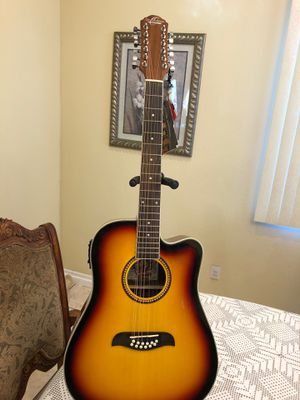 Oscar Schmidt 12 string electric acoustic guitar with built in tuner for Sale in Cudahy, CA