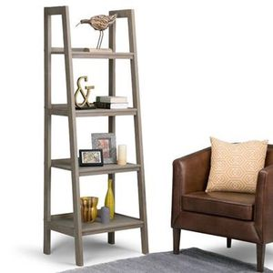 "WAUCONDA: NEW 72"" x 24"" Solid Wood Ladder Shelf, Distressed Gray, 4 Tiers for Sale in Wauconda, IL"