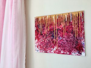 Abstract painting ready to hang, new art, pink golden color 16x20 inch stretched canvas for Sale in San Ramon, CA