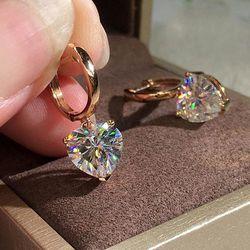 18k Rose Gold Heart Cut Diamond Dangle Hoop Earrings for Sale in Garland,  TX