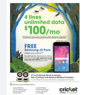 Free Samsung J2 when porting in to Cricket Wireless for Sale in Canton, MS