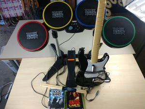 Rockband Stratocaster Guitar and Drum Set and 2 Rockband Games Guitar Hero Xbox 360 for Sale in Grand Terrace, CA
