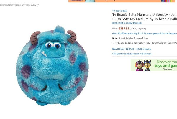 172297b6a3f Monster university Sully Plush by Ty Beanie Ballz for Sale in ...