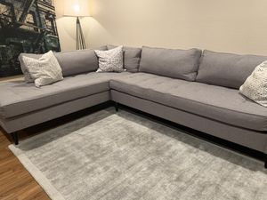 Gray Custom Sectional Couch in Fabric for Sale in San Jose, CA