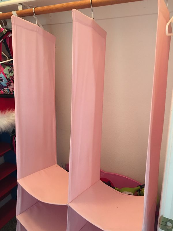 CLOSET ORGANIZER - PINK -LARGE & CLEAN! STURDY AND HAS SILVER HANGER PART TO HANG - GOOD QUALITY