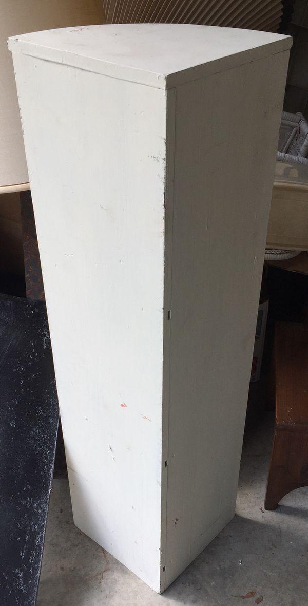 Vintage Wood White Corner Shelf Unit Bookcase