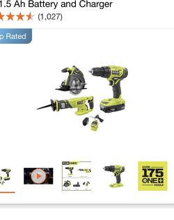 RYOBI 18V ONE+ Lithium-Ion Cordless Combo Kit (3-Tool) with (1) 1.5 Ah Battery and Charger for Sale in Hollywood,  FL